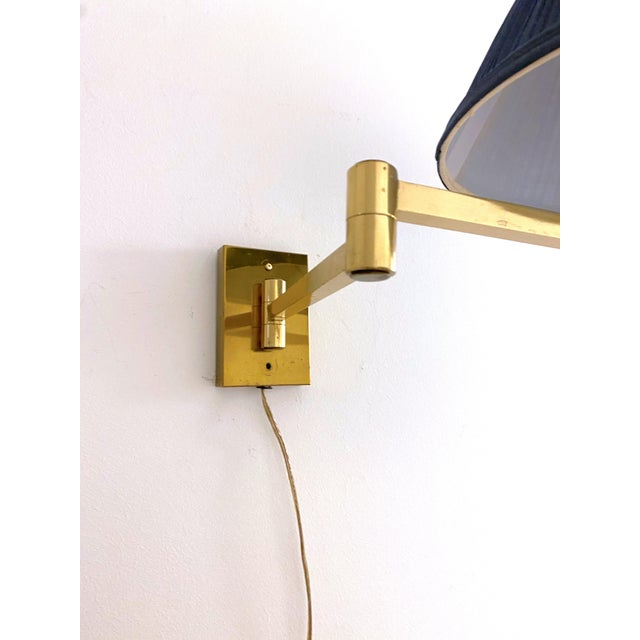 Vintage Double Swing Arm Brass Wall Lamps in the Manner of Hinson - a Pair For Sale - Image 4 of 13