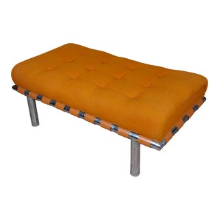 1970s Hiebert of Torrance Steel Bench W/ Orange Tufted Fabric For Sale