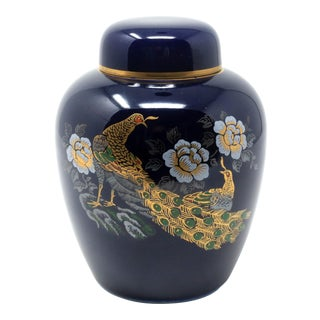 Vintage Enameled Ginger Jar With Peacocks and Chrysanthemums For Sale
