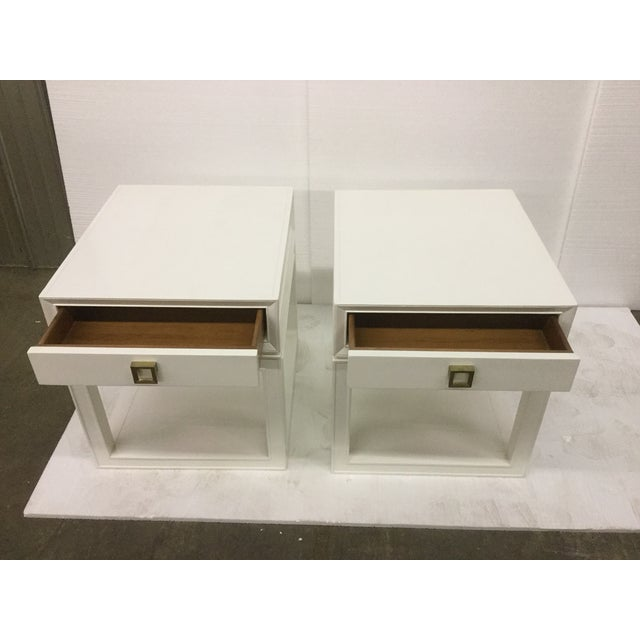Malibu Loft White & Brass Side Tables - A Pair - Image 3 of 5
