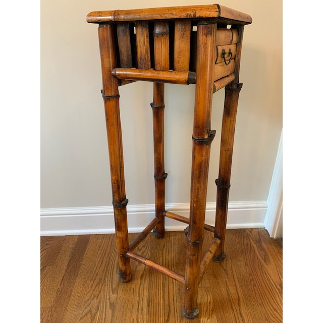 Boho Chic Vintage Burnt Bamboo Vintage Plant Stand With Drawer For Sale - Image 3 of 7