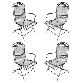 Woodard Wrought Iron High Back Gliding Lounge Chair, Set of Four For Sale