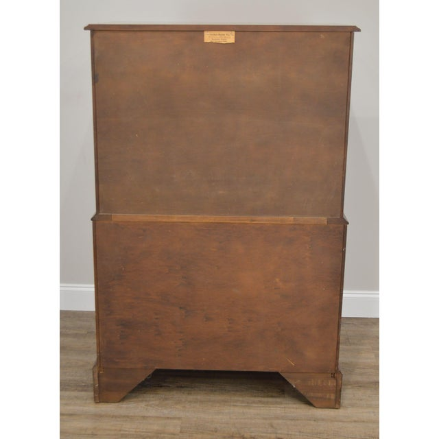 1960s Henkel Harris Vintage Solid Cherry Chippendale Style High Chest on Chest For Sale - Image 5 of 13