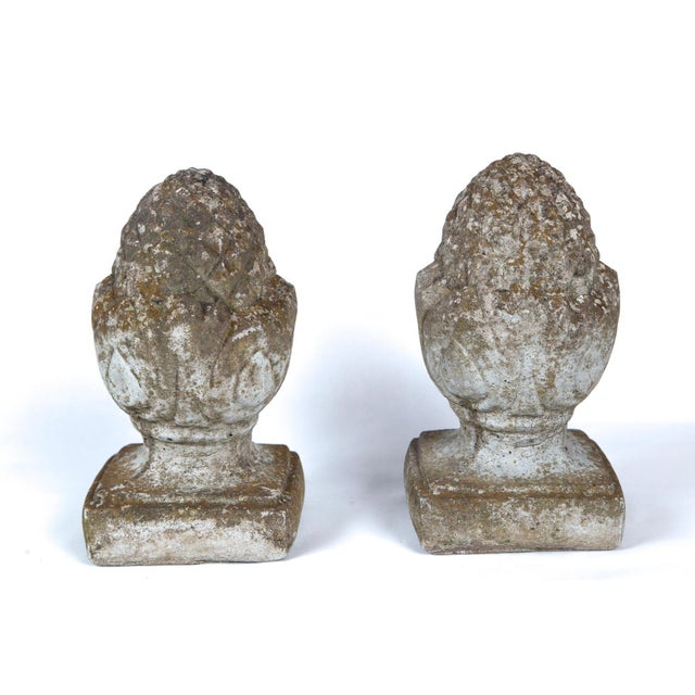 Pair of English Cast Stone Finials, Circa 1920 For Sale - Image 4 of 11