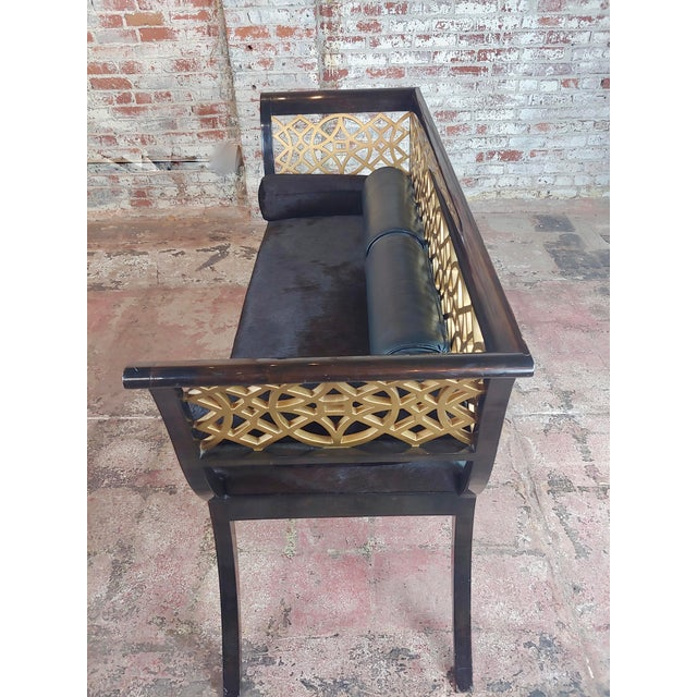 Black Regency Laquered & Parcel Gilt Canape Settee W/Hide Upholstery For Sale - Image 8 of 10