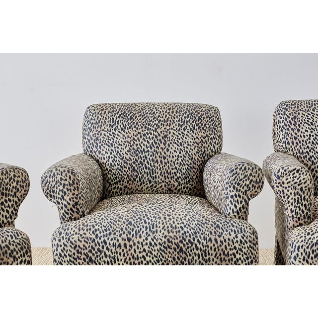 Tan Set of Four Cheetah Leopard Upholstered Club Chairs For Sale - Image 8 of 13