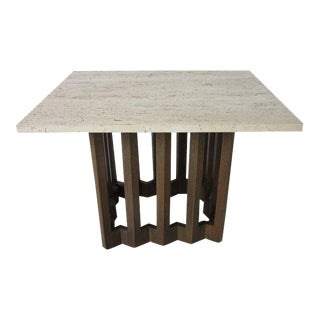 Italian MDC Marble and Sculptural Wood Based Side or End Table For Sale