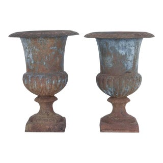1920s French Cast Iron Urns, a Pair For Sale