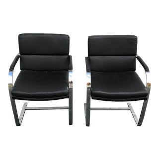 Marcel Breuer Style Floating Black Vinyl Chrome Style Chairs a Pair For Sale