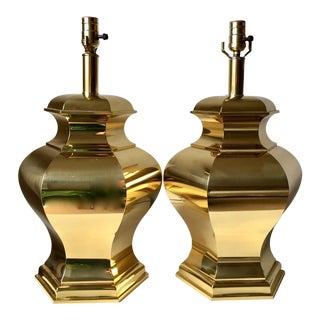2 Brass Hollywood Regency Asian Modern Lamps For Sale