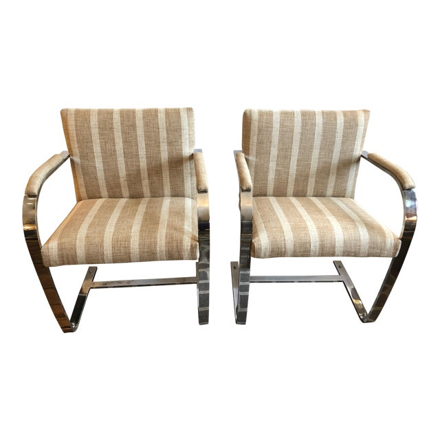 1980s Vintage Chrome & Upholstered Mid Century Modern Armchairs- A Pair For Sale