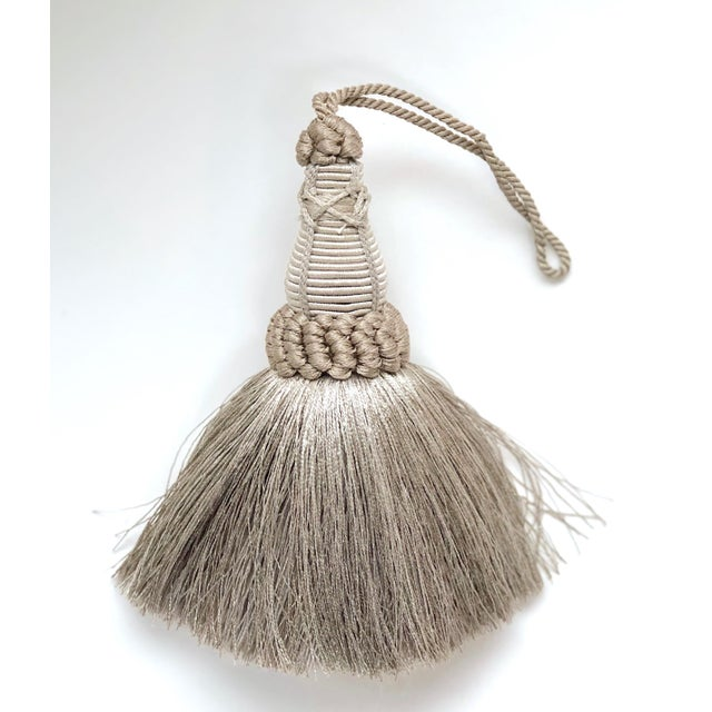 Textile Key Tassel in Pewter and Silver With Looped Ruche Trim For Sale - Image 7 of 10