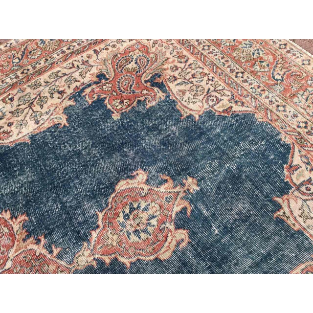 Blue Large Distressed Oushak Rug For Sale - Image 8 of 13