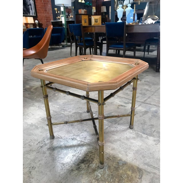Italian Coffee table or side table in brass and wood.