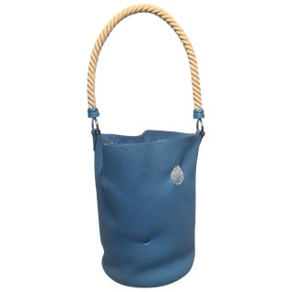 Hermes Mangeoire Blue Jean Taurillon Clemence Leather Rope Handle Bucket Bag For Sale