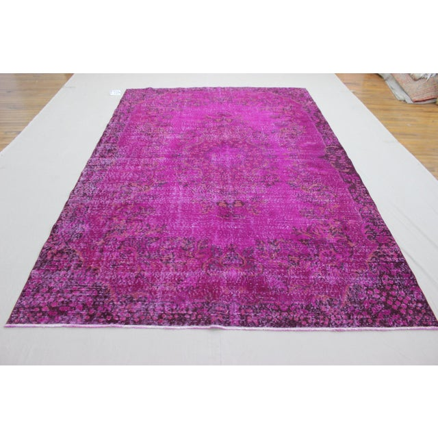 """6'4"""" X 10' Turkish Pink Overdyed Rug For Sale - Image 4 of 10"""