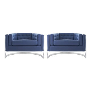 1970s Mid Century Chrome Jules Heumann for Metropolitan Cantilever Lounge Chairs - a Pair For Sale