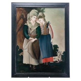 1950s Vintage Two Shepherds Reverse Painting For Sale