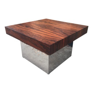 Milo Baughman Square Rosewood Table For Sale