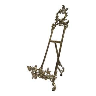 Vintage Art Nouveau Brass Table Easel For Sale