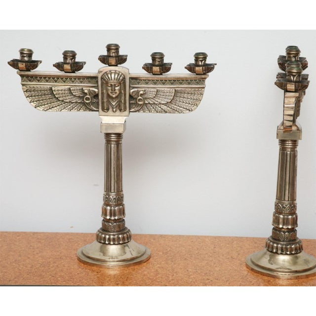 Fine Pair of Art Deco Silvered Bronze Five-Light Candelabra For Sale - Image 4 of 9