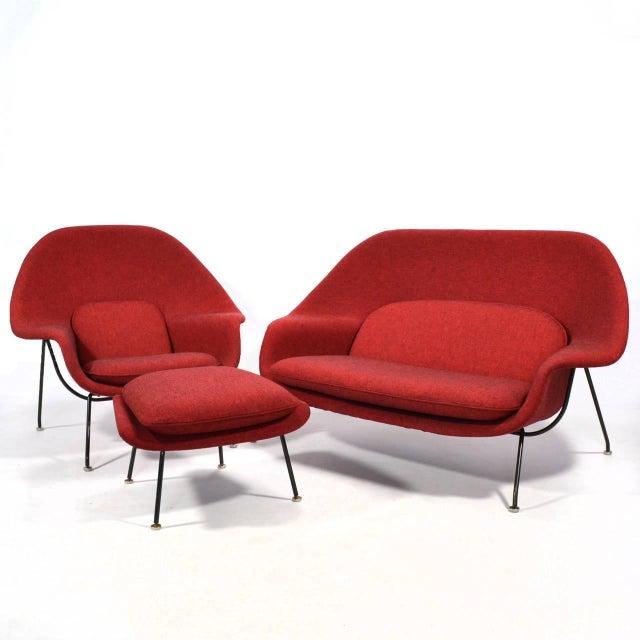 Eero Saarinen Womb Settee Upholstered in Alexander Girard Fabric For Sale - Image 11 of 11