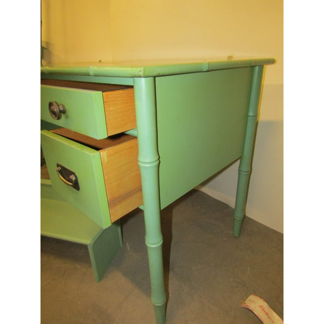 1970s Vintage Faux Bamboo Desk in Old Green Paint & Top Shelf For Sale - Image 5 of 7