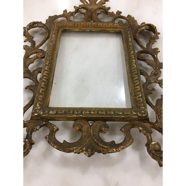 Hollywood Regency Antique Brass Toned Metal Frame For Sale - Image 3 of 6