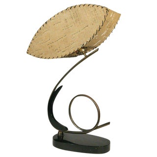Free-Form Black Lacquer and Brass Coiled Cobra Table Lamp For Sale