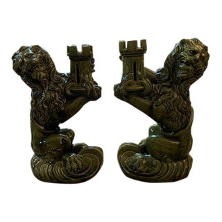 Chinoiserie Style Lion Candlestick Holders - a Pair For Sale