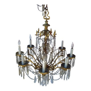 Heavy Brass and Crystal Chandelier With Eight Lights