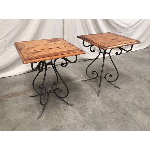 Farmhouse Rustic French Bistro Walnut SideTables With Iron Bases - a Pair For Sale - Image 3 of 12
