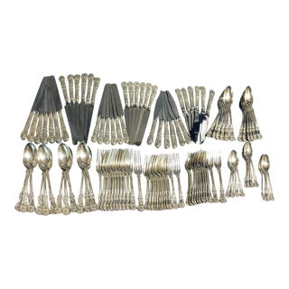 19th-20th Century English King by Tiffany Sterling Silver Flatware Set of 338 Pieces With Oak Case For Sale