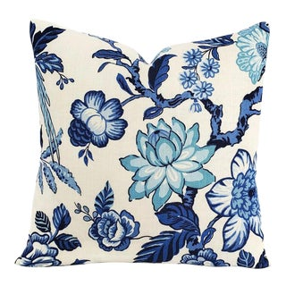 "F. Schumacher Huntington Gardens in Bleu Marine Pillow Cover - 20"" X 20"" Blue and Cream Floral Cushion Case - Fabric on Both Sides For Sale"
