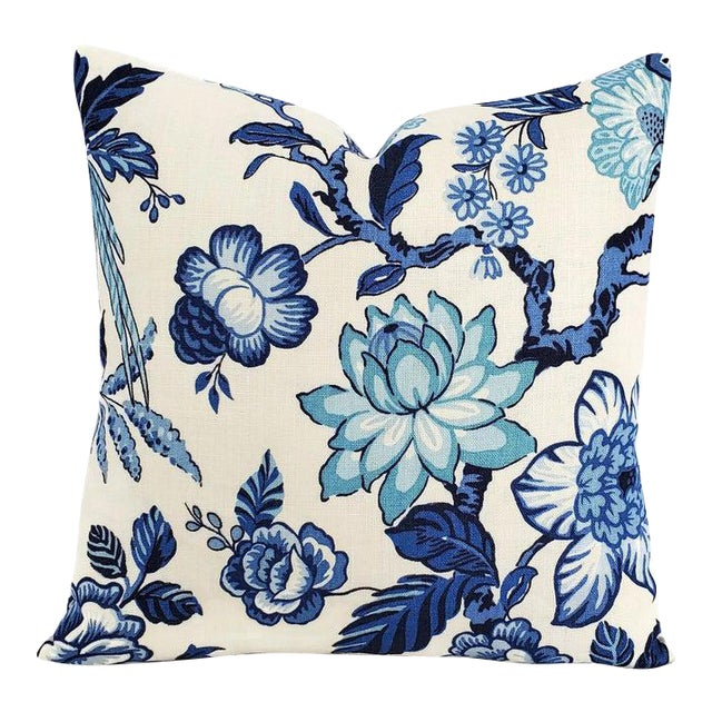 """F. Schumacher Huntington Gardens in Bleu Marine Pillow Cover - 20"""" X 20"""" Blue and Cream Floral Cushion Case - Fabric on Both Sides For Sale"""