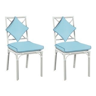 Haven Outdoor Dining Chair, Canvas Mineral Blue with Canvas Sapphire Welt, Pair For Sale