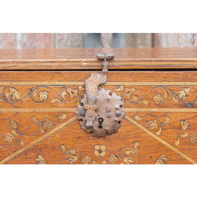 1940s Spanish Vine Motif Wood Inlay Bargueno For Sale - Image 5 of 13