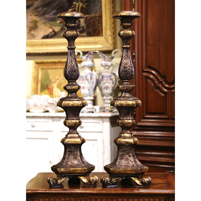 19th Century Italian Carved Two-Tone Giltwood Cathedral Candlesticks - a Pair For Sale - Image 13 of 13