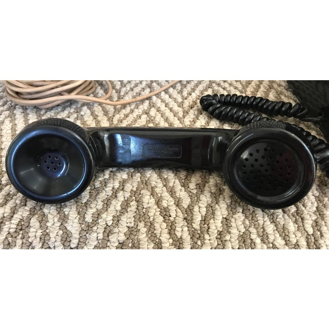 Metal Western Electric 500 Mid-Century Black Rotary Phone For Sale - Image 7 of 10
