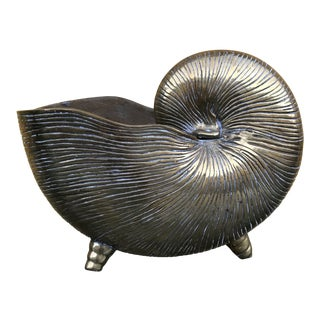 Mid Century Brass Nautilus Shell Planter For Sale