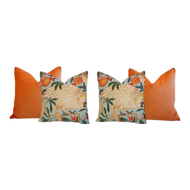 Orange Velvet Tropical Parrot & Pomegranate Feather Down Pillows - Set of 4 - Image 1 of 6