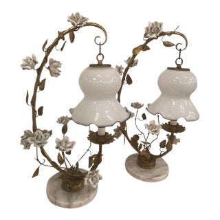 Vintage Italian Porcelain Rose Table Lamps - A Pair For Sale