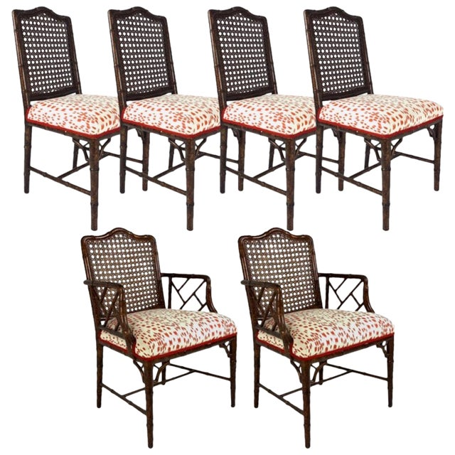 Set of 6 Upholstered Faux Bois Bamboo Chinese Chippendale Cane Dining Chairs For Sale