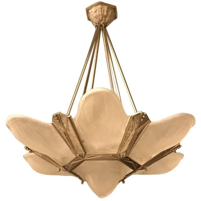 Geometric French Art Deco Chandelier Signed by Des Hanots For Sale - Image 11 of 11