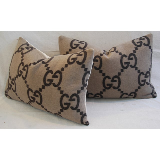 """23"""" X 16"""" Custom Tailored Gucci Cashmere & Velvet Feather/Down Pillows - Pair For Sale In Los Angeles - Image 6 of 11"""
