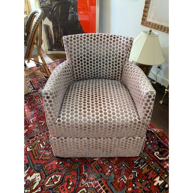 Textile Kravet Tarragona Cut Velvet Swivel Chair For Sale - Image 7 of 8