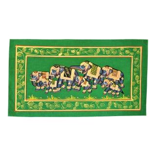Vintage Indian Elephant Folk Art Painted on Silk For Sale