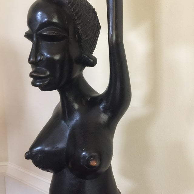African Solid Wood African Mothering Sculpture For Sale - Image 3 of 6