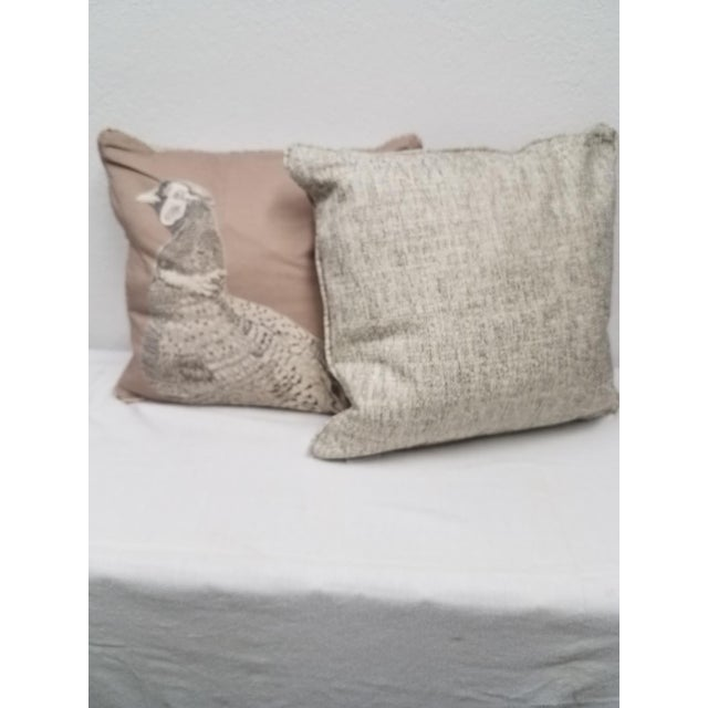 Cotton Game Bird Pillows - A Pair For Sale - Image 7 of 10