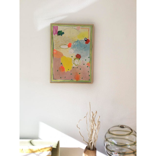"""""""Composición Espacial 3"""", 2018 Mixed media on canvas 20"""" x 27"""" Abstract Expressionist Painting Hand made wooden frame"""